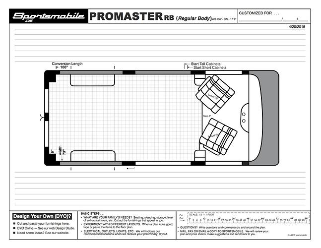 Dodge Promaster Van >> Dimensions for Popular Vans in Blueprint Style - The Build ...